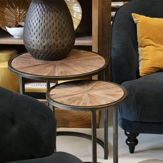 CC Interiors Round Nesting Tables In Recycled Elm With Metal Legs
