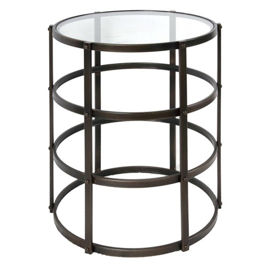 CC Interiors Metal Occasional Table With Glass Top