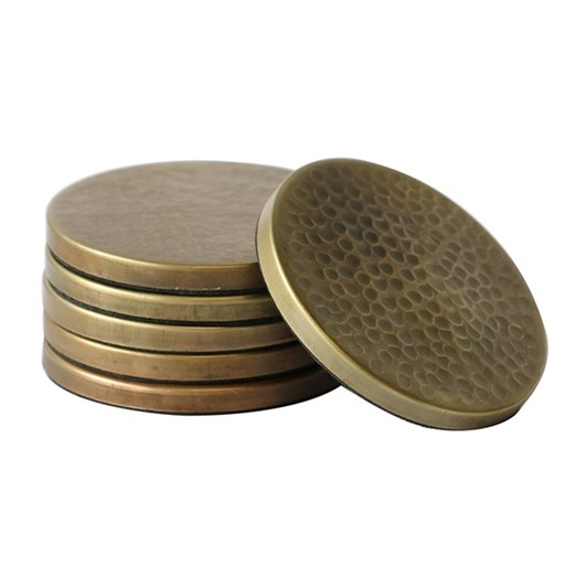 CC Interiors Set Of 6 Hammered Coasters In Brass