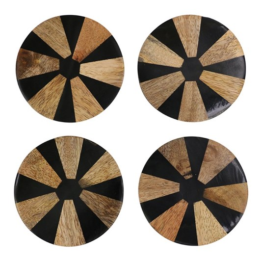 CC Interiors Inlaid Wood Coaster Set Of 4