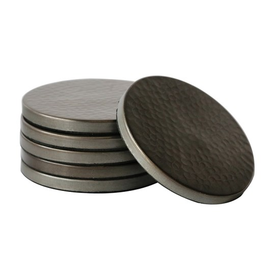 CC Interiors Hammered Coasters Satin Grey Finish Set Of 6