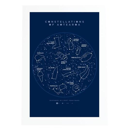 Little Paper Hugs Constellations Of Aotearoa Blue A4 Print