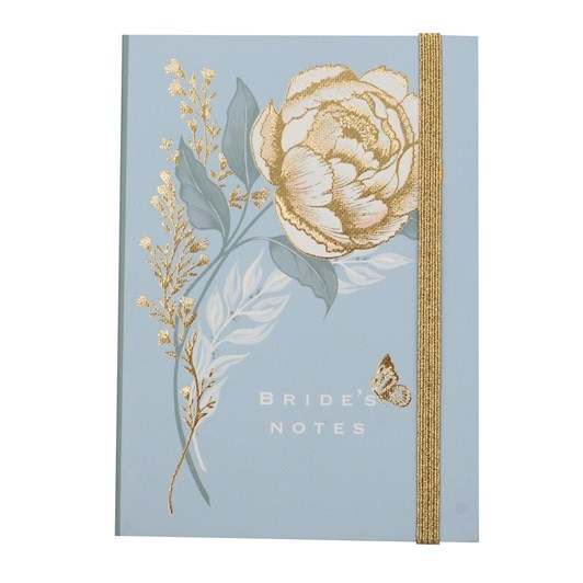 A6 Bride's Notes Gold Rose On Blue