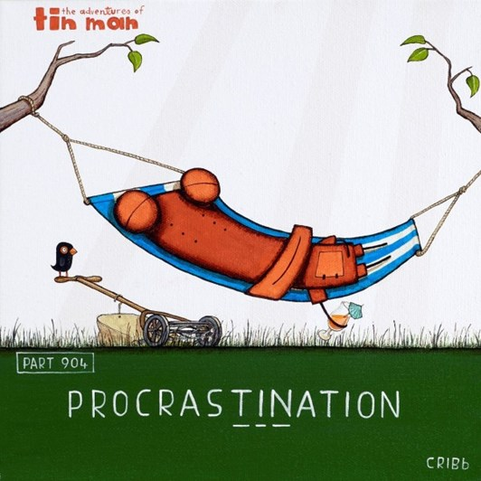 Tony Cribb Procrastination Notecard