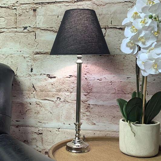 Nickel Table Lamp With Black Linen Shade