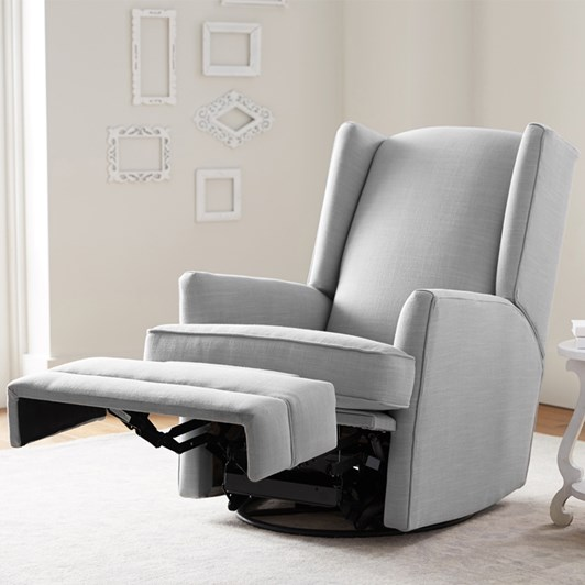 Pottery Barn Kids Modern Wingback Recliner Linen Blend Gray