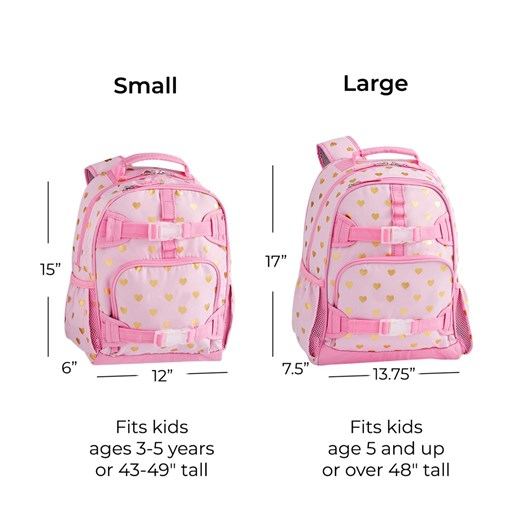 Pottery Barn Kids Mackenzie Backpack Pink Gold Foil Hearts