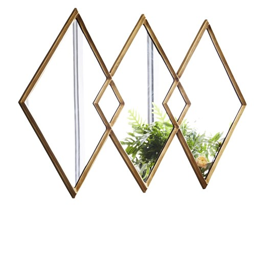 West Elm Shape Mirror Overlapping Diamonds Antique Brass