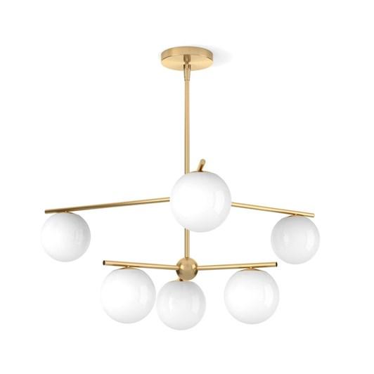 West Elm Sphere & Stem Chandelier, Brass/Milk Glass