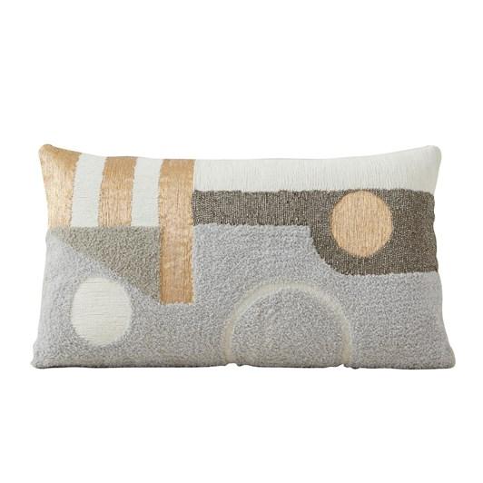 West Elm Embellished Deco Contours Pillow Cover 30 X 53Cm Neutral