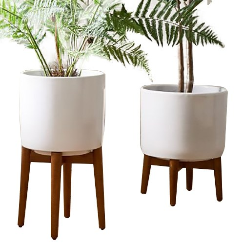 West Elm Mid Century Turned Wood Standing Planters