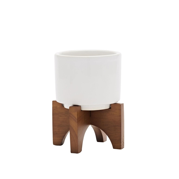 West Elm Turned Wood Tabletop Planters - white