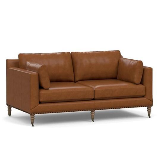 "Pottery Barn Tallulah Leather Sofa 84"""