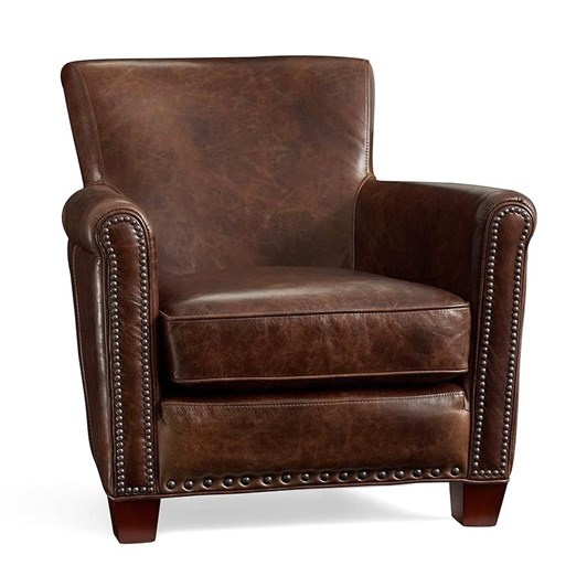 Pottery Barn Irving Leather Armchair