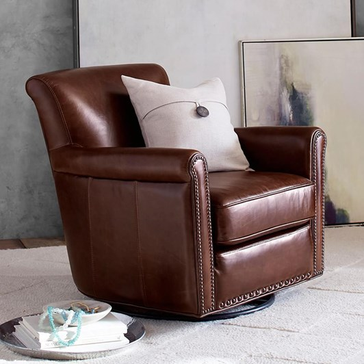 Pottery Barn Irving Leather Swivel Armchair