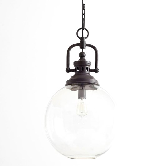 Pottery Barn Ip Duke Iron And Glass Pendant