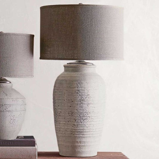Pottery Barn Ip Maddox Ribbed Rustic Pottery Lamps