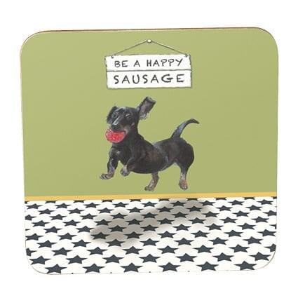 Little Dog Laughed Sausage Coaster