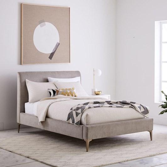 West Elm Andes Deco Upholstered Bed - Metal Distressed Velvet