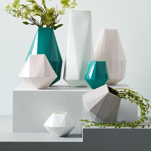 West Elm Faceted Porcelain Vase 5.25 Inches