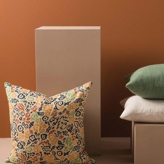 Citta Celia Linen Cushion Cover Flax/Multi 55x55cm