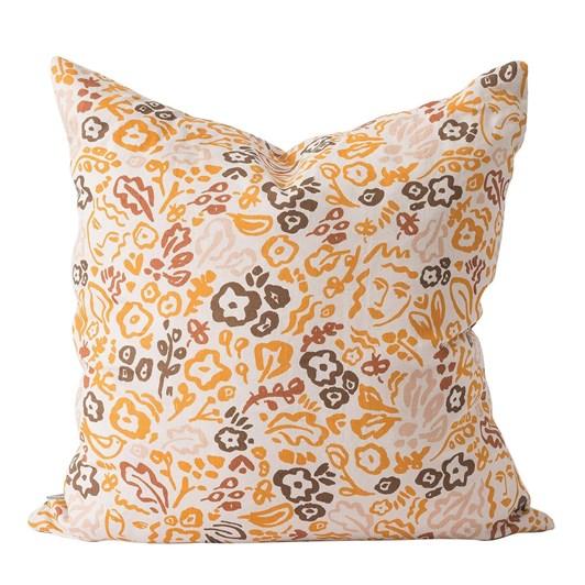 Citta Celia Linen Cushion Cover Pumpkin/Multi 55x55cm