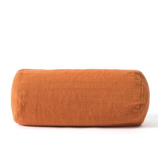 Citta Linen Blend Bolster Cushion Cover Chestnut 46x20cmdia