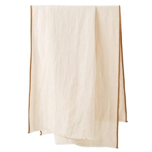 Citta Austen Linen Cotton Throw Cream/Pumpkin  130x190cm
