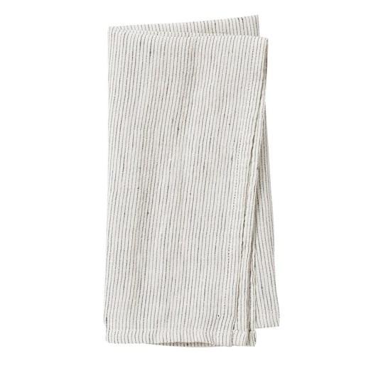 Citta Pinstripe Linen Napkin Pepper/Chalk  45x45cm