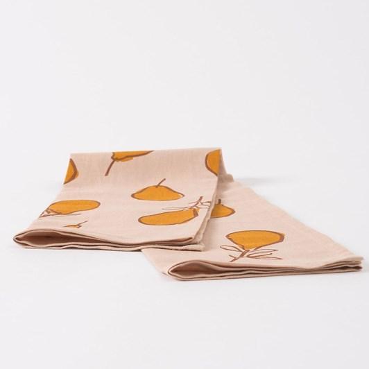 Citta Pear Linen Blend Tea Towel Almond /Pumpkin  55x75cm