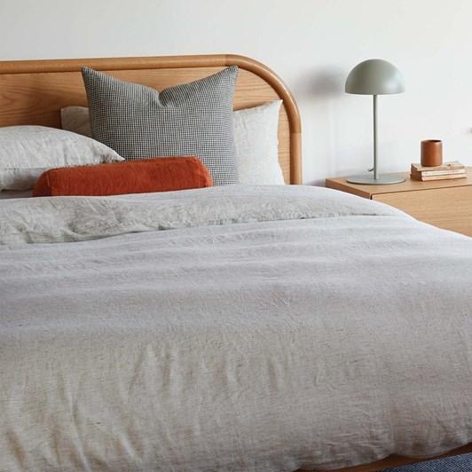 Citta Pinstripe Linen Quilted Blanket Pepper/Chalk Single 130x180cm