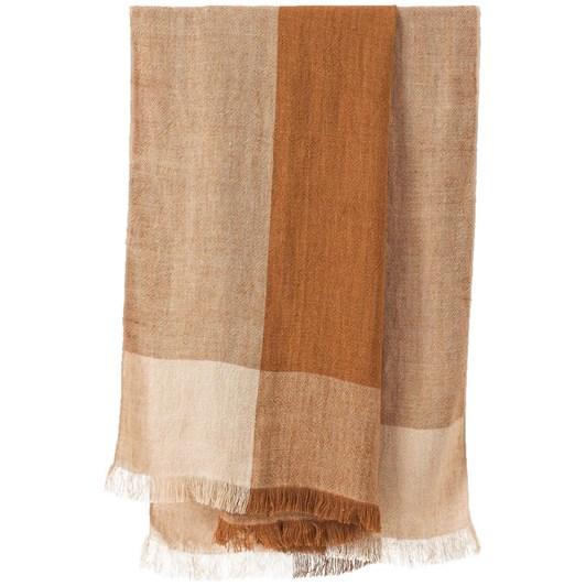 Citta Chester Linen Throw Chestnut/Macaroon  140x180cm