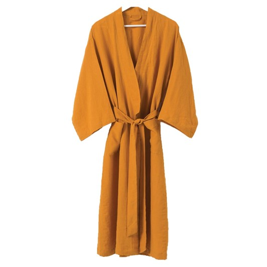 Citta Sunday Women's Linen Dressing Gown Pumpkin L