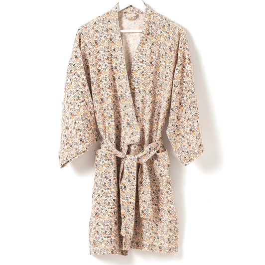 Citta Wildflower Women's Short Linen Dressing Gown  Multi L