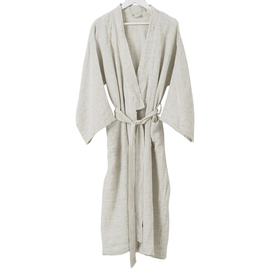 Citta Pinstripe Women's Linen Dressing Gown Pepper/Chalk S/M