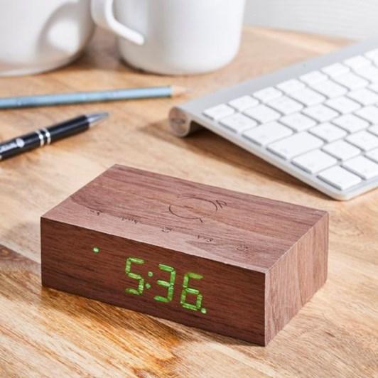 Gingko Flip Click Clock Walnut