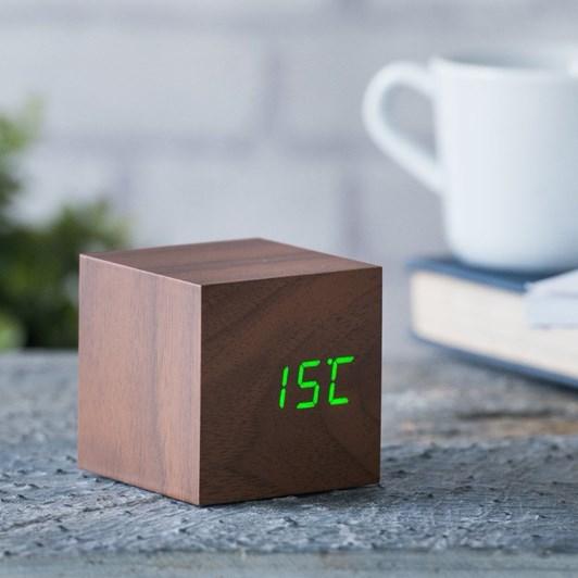Gingko Cube Click Clock Walnut Green Led