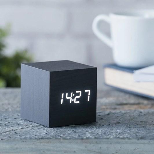 Gingko Cube Click Clock Black White Led