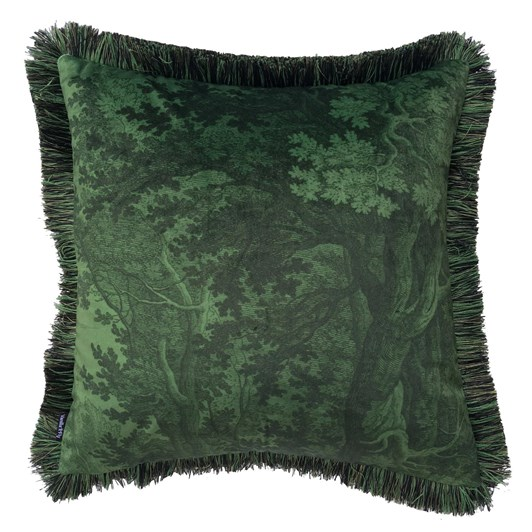 Vanilla Fly Cushion with Fringe Green Woods 50X50