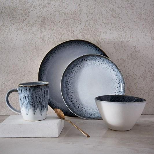 West Elm Reactive Glaze Black-White Dinner Plate