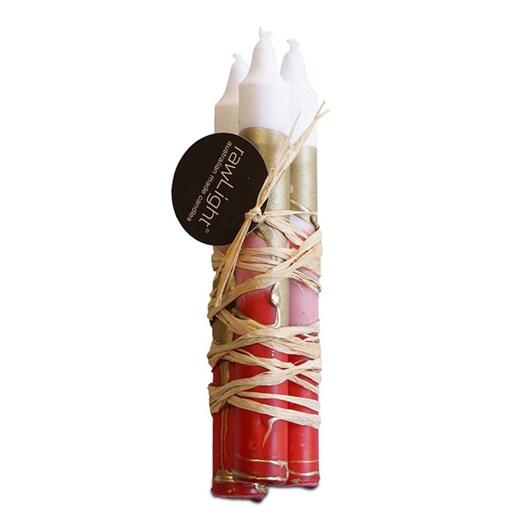 Rawlight Candle Bundle 22 X 300Mm Tapered Dining Red, White & Gold