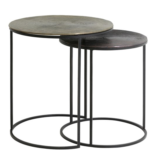 Light & Living Side Table S/2 41X46+49X52 Cm Talca Ant Copper+Bronze Circ