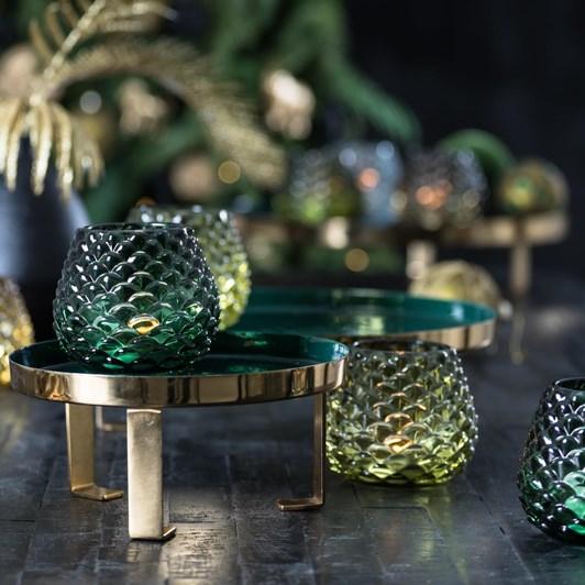Light & Living Tealight 10X8,5 Cm Levay Glass Dark Green