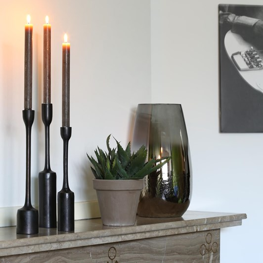 Light & Living Candle Holder S/3 Max 6,5X35,5 Cm Trescales Dark Bronze