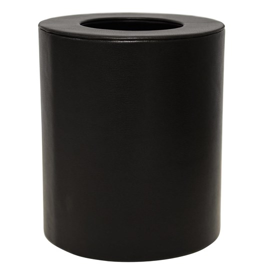 Waste Bin Faux Leather Black