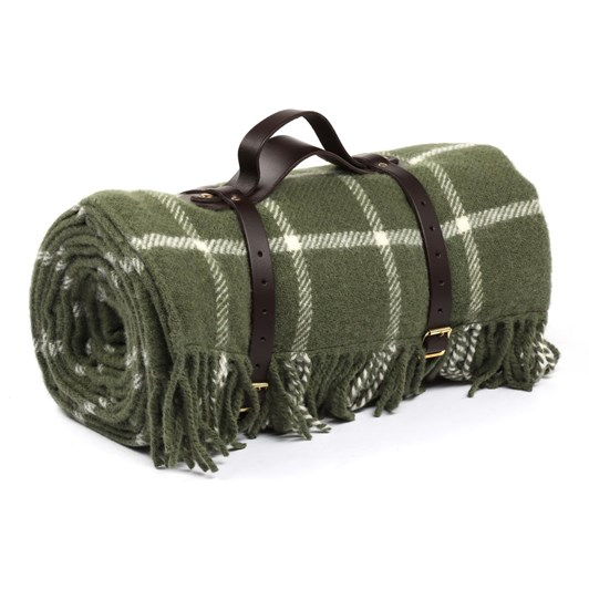 Tweed Polo L/Style Fringe Picnic Blanket with Leather Strap 145x183 cm