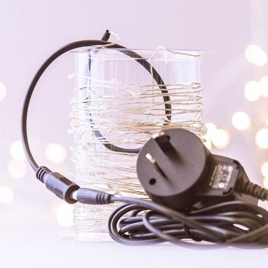 Stellar Haus 100 LED Seed Light String 10m Plug In Silver Warm White