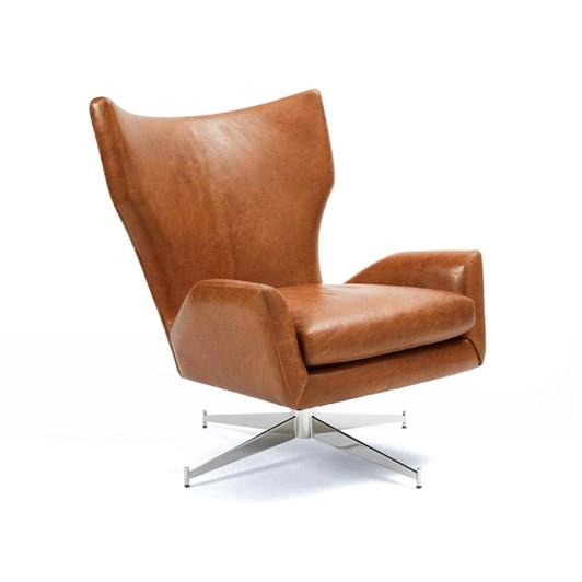 West Elm Hemming Leather Swivel Arm Chair