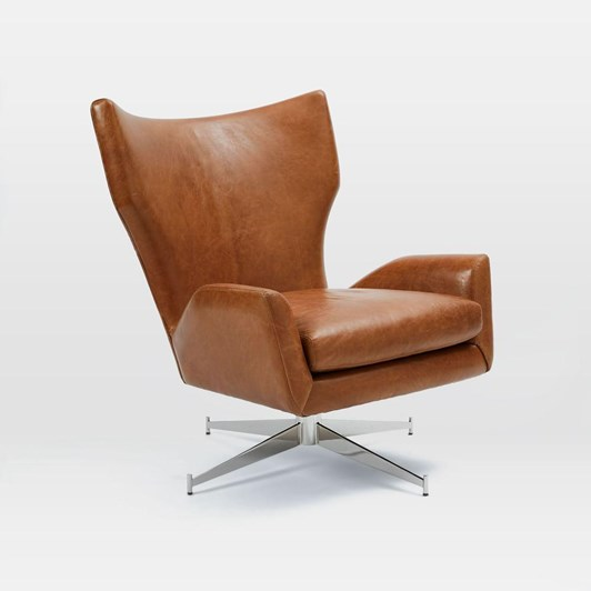 West Elm Hemming Leather Swivel Arm Chair