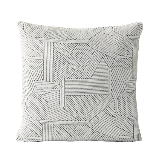 West Elm Linear Cut Velvet Cushion Cover Stone White